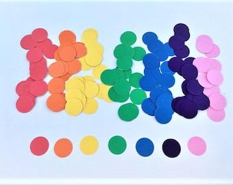 Circle Confetti - Rainbow Confetti - Cardstock Confetti - Rainbow - Colorful Confetti - Party Supplies - Table Decor