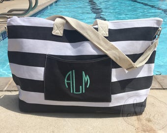 SALE: Monogramed Large Beach Tote- Beach Bag- Turquoise