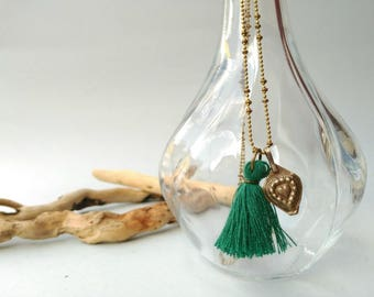 Long tassel necklace with a Kuchi charm. Bohemian necklace, Beach jewelry, Green tassel necklace, Ethnic jewelry, summer jewelry, Coachella