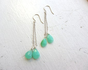 Chrysoprase Earrings, May Birthday, Gemini Birthday, May Birthstone Earrings, Beach Jewelry,  Chrysoprase Threader Earrings, Threaders