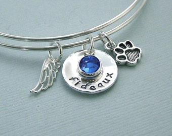 Expandable Wire Bangle - Personalized Remembrance Bracelet - Adjustable Bangle - Pet Loss - Memorial Jewelry