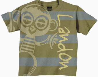 Boys Shirt Tee, Monkey Stripes Personalized T-shirt