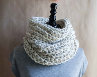 Ready to ship! The Huntington // ultra-soft chunky crocheted cowl neckwarmer // featured in the color Wheat