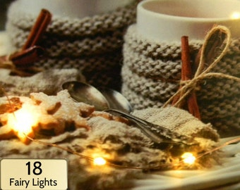 18 Fairy Lights (warm white or cool white) on 3 ft strand of copper, silver, or gold. Battery-operated + timer for home decor, party lights.