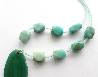 Blue-green Amazonite & Geode Necklace