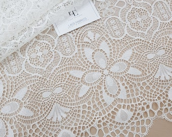 Ivory lace fabric by the yard, French Lace, Alencon Lace, Bridal gown lace Wedding Lace Garter lace Evening dress lace Lingerie Lace LL83321