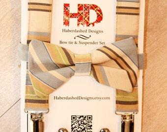 SALE | Men's Striped Bow Tie and Suspender Set