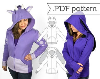 Women's Fitted Cosplay Hoodie Sewing Pattern .pdf Tutorial Hooded Jacket with Bear Cat Rabbit Fox Ears