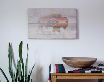 Bison Print, Bison Wall Art, Buffalo Plaid, Bison Poster, Buffalo Art, Buffalo Print, American Buffalo, Pallet Print, Pallet Photo, Bison