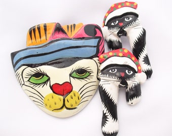 Novelty Cats Pin and Earrings Whimsical Hand Painted Kitties Lacquered Wood