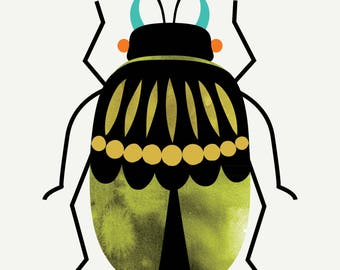 Stag Beetle - Fine Art Mini Print 5x7 -  Wall Art -Dorm - Color Options - Nursery - Watercolor - Mod - Mid Century - Entomology - Minimalist