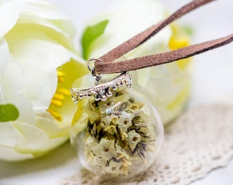 Real Dried Flower Glass Orb Terrarium Nature Pendant Leather Chain Necklace, Real Flower Jewelry, Glass Vial Globe Charm Necklace