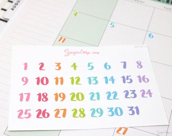 Rainbow, Date Numbers, Undated Planners, Brush Lettering, Bullet Journal Stickers, Days of The Month Stickers, Date Stickers, 1-31, DAT18