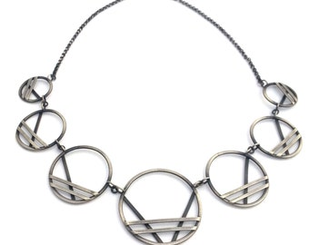 Sterling Silver Necklace, Large Silver Statement Necklace, Oxidized Silver Geometric Necklace, Big Bold Necklace, Contemporary Jewelry