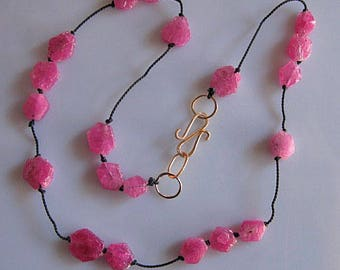 Rough Ruby Bead Necklace 14k Gold S Clasp Raw Ruby Necklace Beaded Necklace Black Silk Knotted Necklace Handmade S Clasp OOAK 17 inch Pink