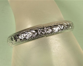 Whiting Davis Bracelet - Vintage Raised Flower Silver Tone Hinged Bangle