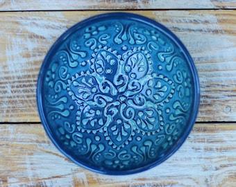 Blue bowl, blue saucer, blue stoneware, decorative bowl, rustic stoneware, handmade bowl, small bowl, rustic bowl, breakfast bowl, clay bowl