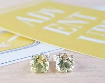 Lemon Quartz and Sterling Silver Stud Earrings