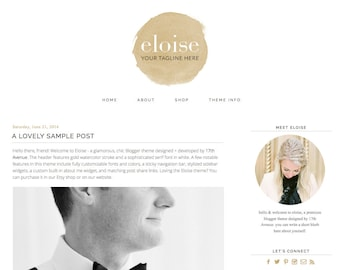 "Blogger Template Premade Blog Design - ""Eloise"" Blogger Theme"