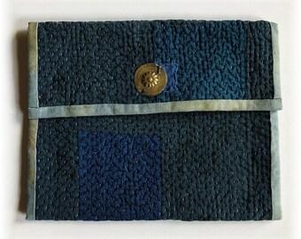 Primitive Handmade OOAK Boro Inspired Vintage Indian Kantha Quilt Clutch Bag INDIGO, Hand Dyed Fabric, Tribal Elements!