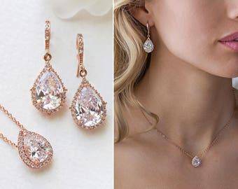 Bridal Earrings Rose Gold Jewelry Wedding Jewelry Teardrop Earrings Bridal Accessories Rose Gold Earrings Dangle Earrings E055-RG