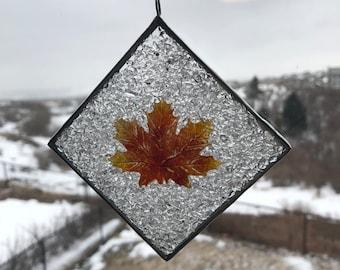 Fused glass, sun catcher, handmade fused glass, home decor, glass, art,  maple leaf, maple leaf sun catcher, window art, ornament, leaf
