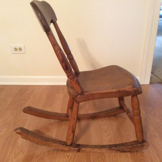 Antique sewing nursing rocker low armless wooden Victorian Queen Anne style  Pennsylvania fiddleback sewing nursing rocker rocking chair - Antique Sewing Nursing Rocker Low Armless Wooden Victorian