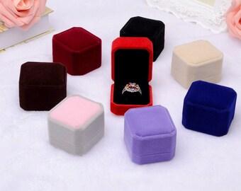 Ring Box, Velvet Ring Box, Velvet Jewelry Box for Rings in Pink, Tan, Gray, Black or Red, Ring Gift Box, Engagement Ring Box