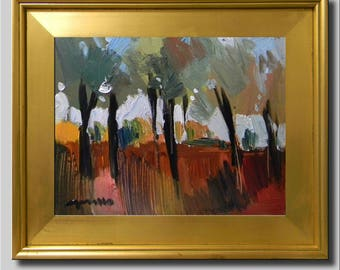 Plein Air Landscape Painting, Impressionist Park Oil, Autumn Fall Leaves, Trees Painting, Red Yellow Abstract Painting