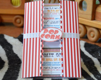 Invitations, Circus, Carnival, Movie Party Popcorn Box Styled Invite set of 10 for Birthday Celebration, Baby Shower