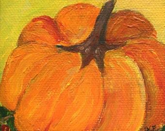Small pumpkin mini canvas art, Original little canvas, Easel 3 x 3 miniature painting pumpkin, kitchen decor, acrylic painting canvas art