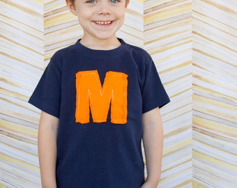 Personalized toddler boys monogram tee, high quality, applique tee sizes 12m to 8y