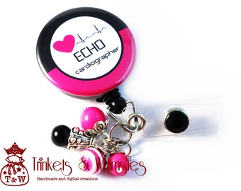 Echo Tech Echocardiographer Pink and Black Retractable Badge Holder