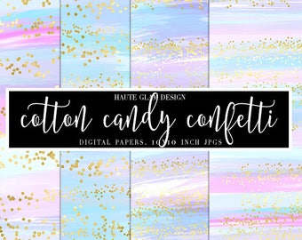 """Cotton Candy Confetti Digital Papers, Abstract Pastel Papers with Gold Confetti, Watercolor Paper, 10"""" JPG Instant Download, 7 Papers"""