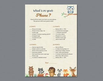 What's In Your Phone Game Printable, Woodland Theme, Baby Shower Games, What's on Your Phone, Forest Animals, Cell Phone, Mobile, B009