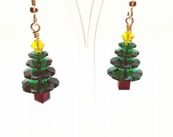 Christmas Earrings Christmas tree earrings crystal earrings Green Earrings Festive Earrings Xmas Earring Xmas Tree Earrings Holiday Earrings