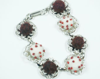 Bracelet - Needle Felted - Burgundy and White on Silver Tone - Costume Jewelry - Gift for Her - Filagree - needlefelt jewelry
