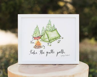 Art - Take the Gentle Path - Camping tent, Red canoe, Campfire, Adventure