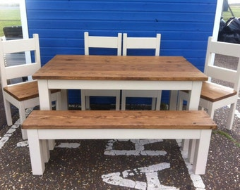 Chunky rustic Dining Table, Four chairs & Bench