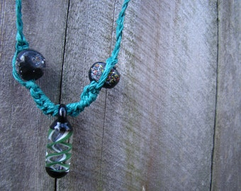 Turquoise Hemp Necklace with Unique Beads