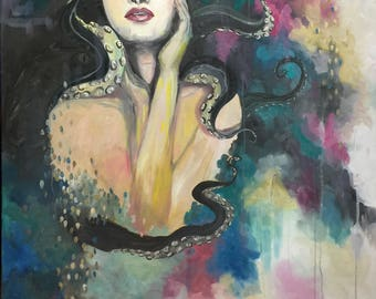 Cecaelia|Octopus painting|Mythology|Portrait|Original Oil Painting|Colorful Art|Art by Cherry Demir|91.5cm (W) x 153cm (H)