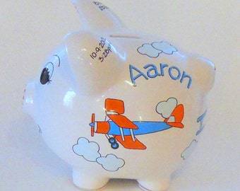 Kid's Personalized Piggy Bank with Old Airplanes in Orange and Light Blue