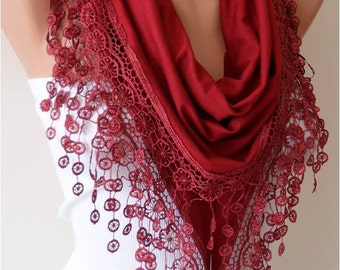 Valentine's Gift Scarf Burgundy Cotton Scarf Venice Lace Scarf Personalized Gift  for Her Valentines Day Gift Girlfriend Gift