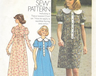 Simplicity 7252 - Vintage 1970s - Puff Sleeve EMPIRE WAIST Babydoll DRESS  - Sewing Pattern - Size 12 - 34 Bust