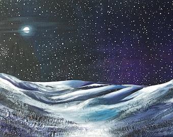 Mixed media landscape moors painting original on box canvas medium night sky, stars, moon, Yorkshire, landscape painting, modern landscape