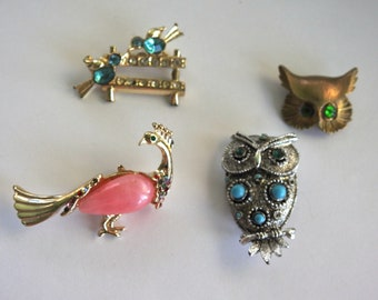 Four Bird Brooches