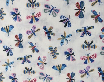 LIBERTY Of LONDON Tana Lawn Cotton Fabric  'Flip,Flap,Fly' Butterfly Lg Fat Quarter 18 X 26 in