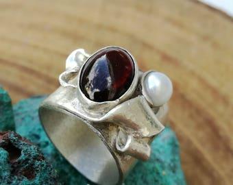 Rustic women ring, Gypsy silver ring, Hippie silver ring,Silver pearl ring, Bohemian silver ring,Boho pearl silver rings,Unique silver ring,