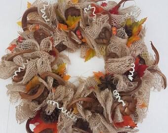 Garland//door hanger//autumn//Thanksgiving//handmade//jute//decoration//gift mother, girlfriend//second hand dealer//autumn leaves//fall