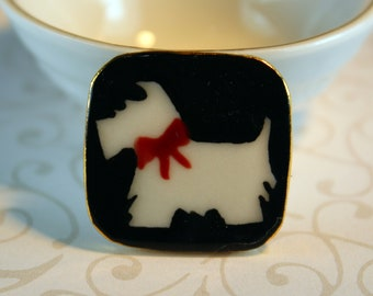 West Highland Terrier Brooch Handmade Porcelain Ceramic Jewelry
